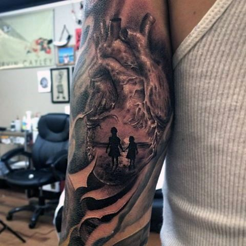 Male With Two Daughters On The Shore Inside Heart Tattoo