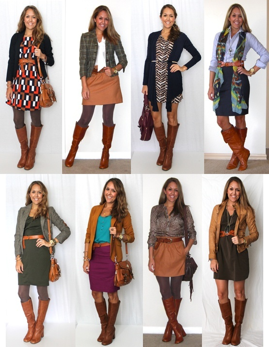 Boots with Skirts outfit ideas. I know how much you love the boot look! :)