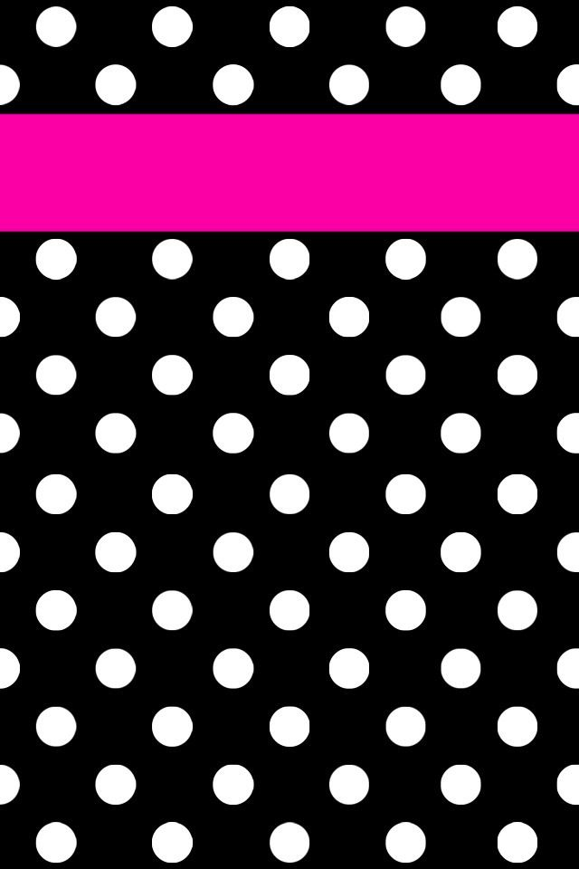 pink strip black white polka dots iphone wallpaper