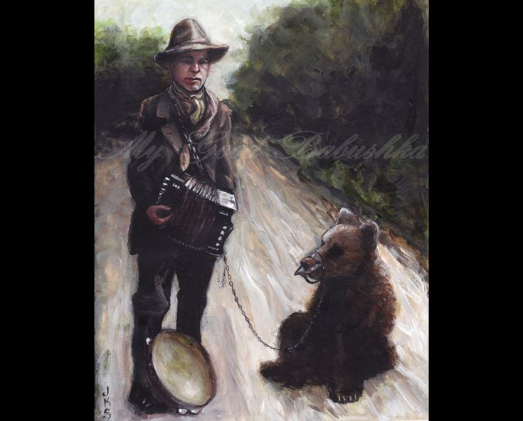 The Accordion Player and His Trained Bear, Original Painting, Traveling Musicians, Accordion, Music, Bear, Road, Circus, Entertainers by mygoodbabushka on Etsy