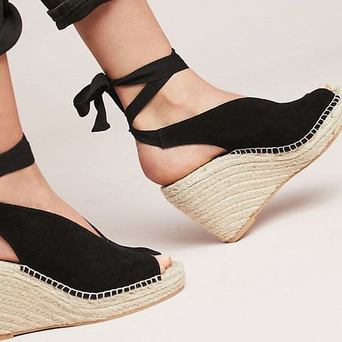 6eddb5c55c0 Espadrille Ankle Tie Sandals Peep Toe Wedge Sandals in 2019   Shoes ...