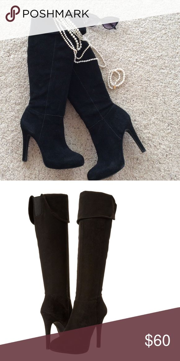 Jessica Simpson Audrey Suede High Heel Boot! Knee high boots with fold over cuff, 5 inch heel.  Like new! With box Jessica Simpson Shoes Heeled Boots