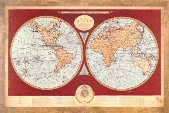 mappa del mondo II  - Mary Elizabeth - STAMPA SU TELA € 20,82