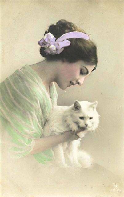 Victorian lady & white cat