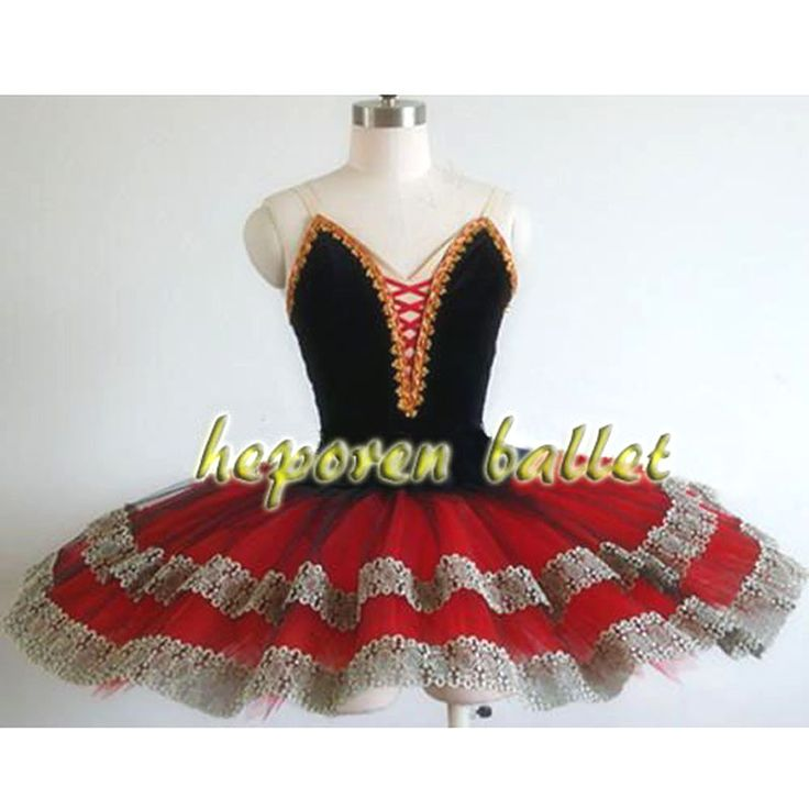 High Quality Professional Customized Esmeralda Black Red Ballet Dresses,Don Quixote Role Organza Tulle Tutus Free Shipping HB199