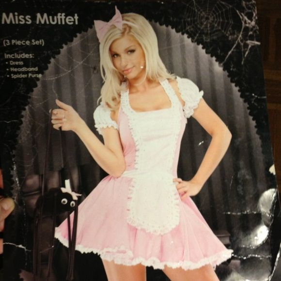Little Miss Muffet adult role play/Halloween Little Miss Muffet adult role play/Halloween costume 3 pc. set incl. sexy pink/white stretchy dress w/tie in back & around neck. headband w/bow & spider zippered purse. Coquette Shoes