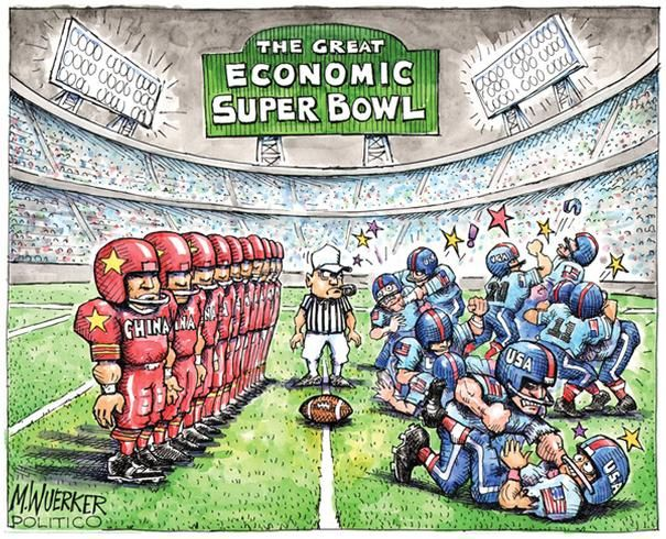 Political Cartoons: The great economic Super Bowl - 4 of 20 - POLITICO.com