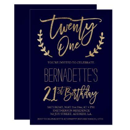 Chic Gold Typography Navy Blue 21st Birthday Card