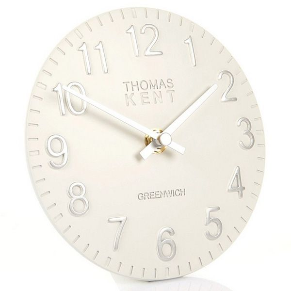 Thomas Kent Cotswold Snowberry White Mantel Clock - 6 Inch