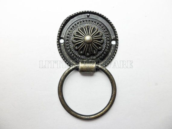 High Quality  Chrysanthemum vintage drawer pulls Ring Pulls / Cabinet Knob Pull Handles / Vintage Furniture Knobs Handle DP0032