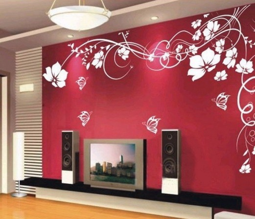 Red living room wallpaper ideas feature walls - Feature wall ideas living room wallpaper ...