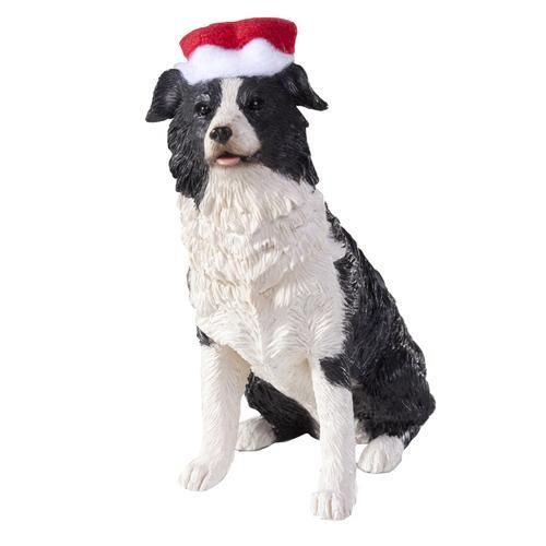 Border Collie with Hat Christmas Ornament