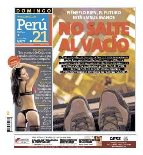 """El día de las elecciones de Segunda Vuelta en Perú. Tapa de Perú 21 alude al """"salto al vacío"""" al hablarle a los electores de Ollanta Humala y Keiko Sofía Fujimori. 5 de junio de 2011"""