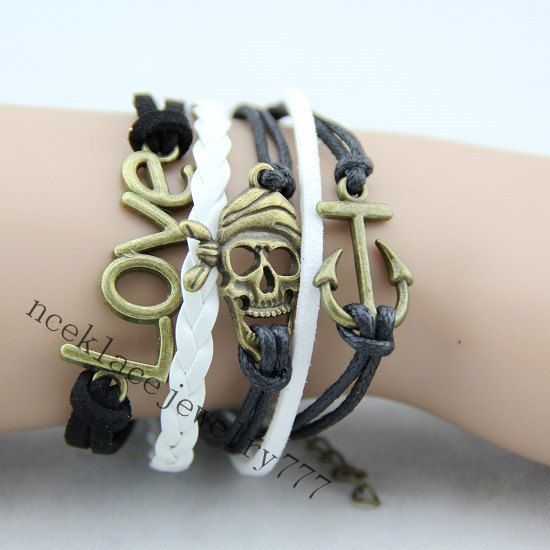 Skull bracelet pirates bracelet anchor by necklacejewelry777, $8.90
