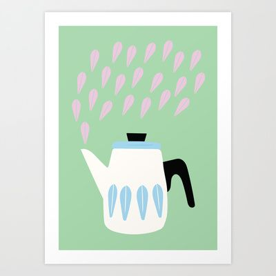 Steaming Coffeepot in Pastel Colors Art Print by The Bearded Bird. - $14.00
