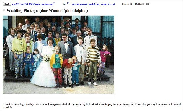 Wedding Photographer Wanted Ad Makes Us Lose a Little Faith in Humanity
