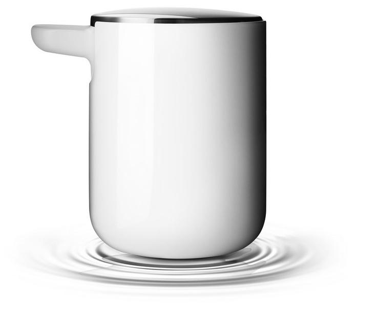 distributeur de savon acier, plastique blanc