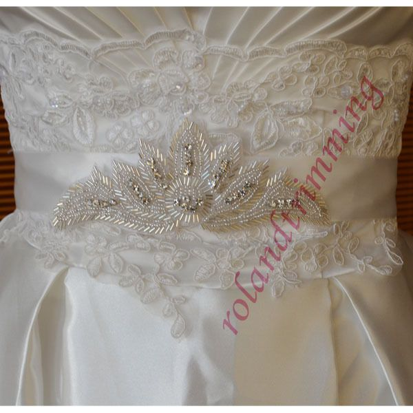 13,35 3szwholesale bride new bridal crystal rhinestone satin crown applique pageant dress sash belt with beads  ra75
