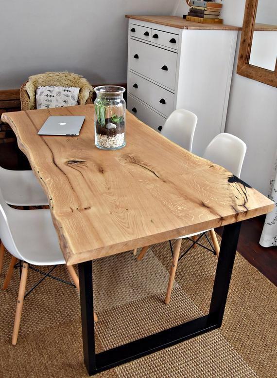 Fabriques A La Main 6 Places Moderne Chene Bois Noir Table De