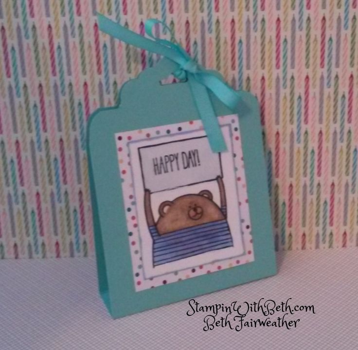 Cheerful Critters Treat Holder, using Cheerful Critters Stamp set from the 2015 Occasions Catalog, Stampin Up.  Coastal Cabana card stock and ribbon, scalloped tag topper punch, project life journaling card, blendabilities markers.  StampinWithBeth.com