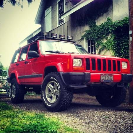 beautiful red lifted jeep cherokee sport 4x4 xj for sale in ohio. Black Bedroom Furniture Sets. Home Design Ideas