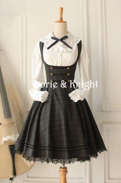 Vintage xadrez escocês estilo faculdade de lã mistura JSK Lolita vestido Hepburn elegante Underbust colete vestido