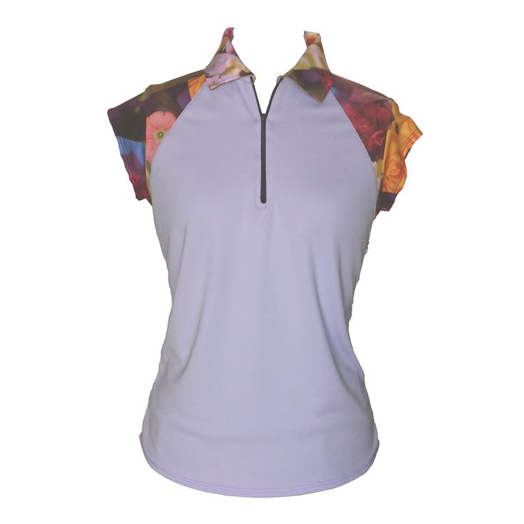 Ladies golf shirt with cap sleeves, full collar and floral print across the shoulders. Mauve purple coloured body. Part of the new lily valley collection by Lady Golfwear.    #golfoutfit #golfshirt #womensgolfshirt  http://www.ladygolfwear.com.au/ladies-golf-shirt-in-purple-passion-print/