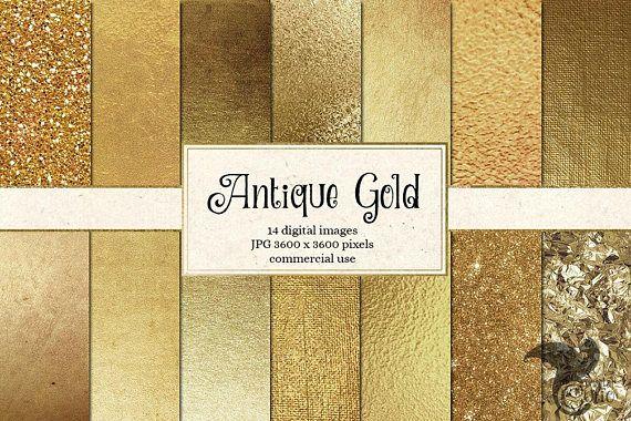 Antique Gold Digital Paper Antique Golden Textures