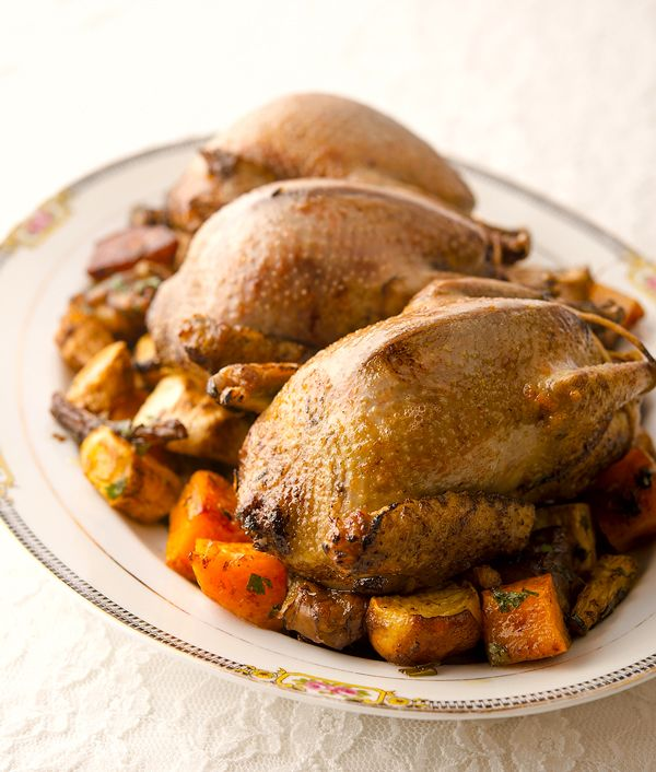 A simple recipe for roast pigeon with roasted root vegetables. Full recipe on Hunter Angler Gardener Cook: http://honest-food.net/