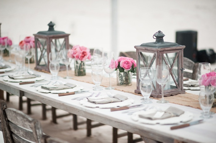 Pink peonies & gray lanterns. Photography by styleartlife.com, Event   Floral Design by littleislanddesign.com