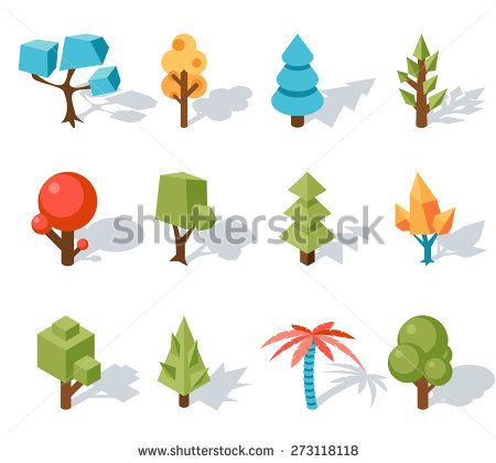 Low poly tree icons, Vector isometric 3D. Forest and leaf, palm and trunk, colorful foliage, tropical floral - stock vector