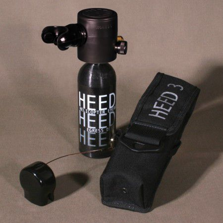 "The HEED 3 is known throughout the world as the leading emergency breathing apparatus for egressing from ditched helicopters or smoke-filled environments. Wherever there is a short-term out-of-air emergency, HEED 3 is ""There when you need it."" Based upon the popular Spare Air® used for SCUBA Diving, the HEED 3 utilizes the same 3rd generation patented regulator that has made the Spare Air the most sold SCUBA Safety emergency breathing device in the world. With MOLLE system holster."