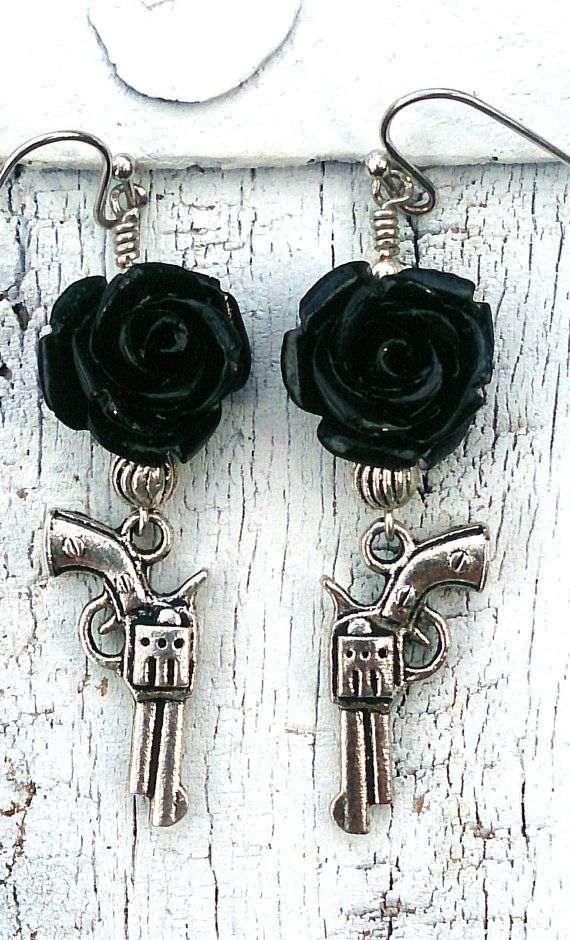 Black Rose Gun Pistol Earrings Western by SecretStashBoutique