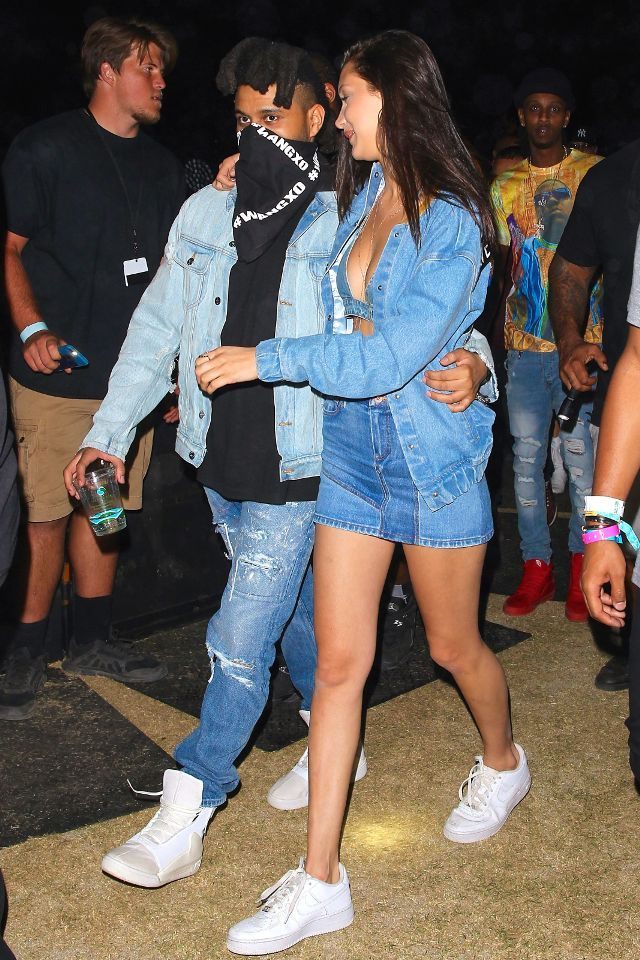 WHO: Bella Hadid WHAT: Coachella Valley Music & Arts Festival WEAR: Filles A Papa Denim Russell Bomber Jacket ($1047); Roberto Cavalli skirt; Nike Air Force 1 Lows ($90).