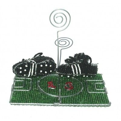 Soccer Football field wire beaded ornament with wire holder - wire beaded standing ornament artwork handmade in Africa – handmade to perfection.