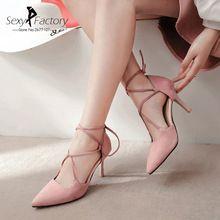2017 Sping Automne De Mode Femmes Chaussures Sexy Lacent Bout Pointu Super Haute Talons Pompes Plus La Taille Mince Partie de Talon Chaussures Noir rose(China (Mainland))