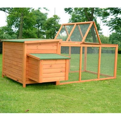 Aosom LLC Pawhut Wood Chicken Coop Rabbit Hen House Nest Huge Run Backyard Poultry Cage