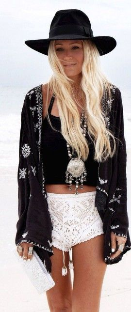 black tee + black cover up and i cant stay away from white color shorts + bohemian necklace