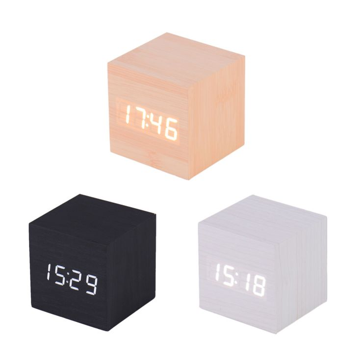 Creative LED Alarm Clock Cube Wooden Despertador Solids Voice Control LED Display Electronic Desktop Digital Clocks Calendar //Price: $19.56 & FREE Shipping //     #hashtag4
