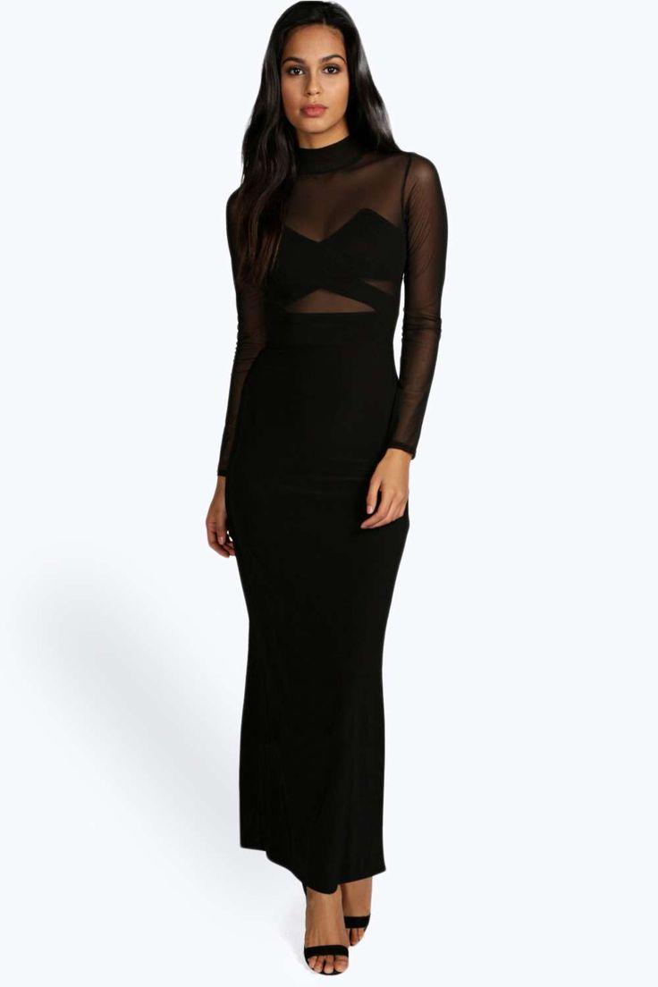 Petite Rochelle Mesh Overlay Maxi Dress alternative image