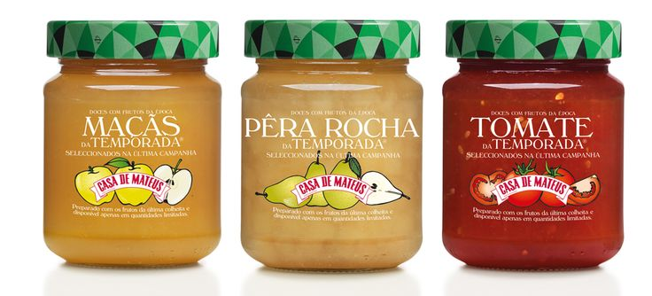 Gama doces Casa de Mateus Temporada #packaging #design #food #jams #apple #tomato #pear  #portuguesefruits