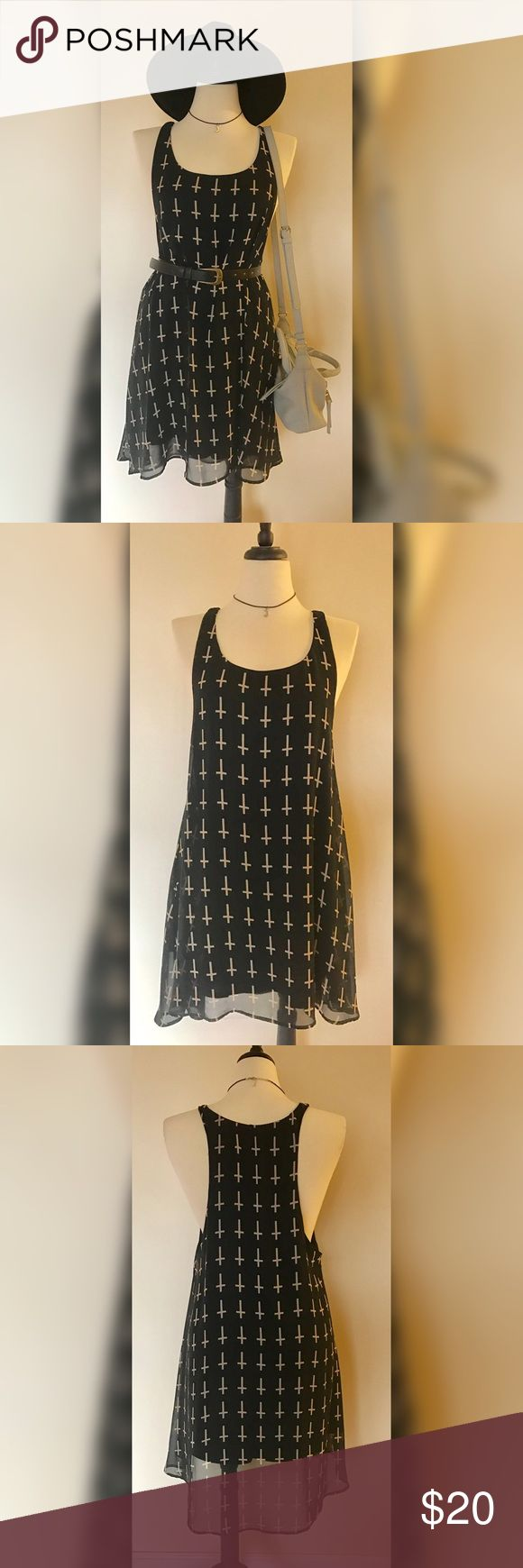 Tobi Black Cross Print High Low Dress Size M/L. Gently used, excellent condition. Purchased from Tobi. Racer back high low dress with deep sides. Pair with a lace bralette and platform boots for an edgy rocker look! (Accessories shown not for sale) Tobi Dresses High Low