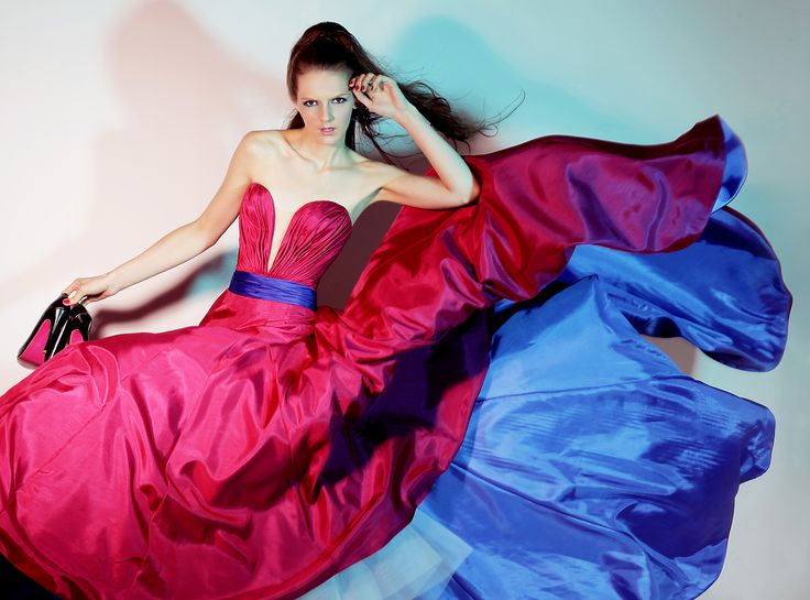 Strapless blue and red gown | Z Wedding Design