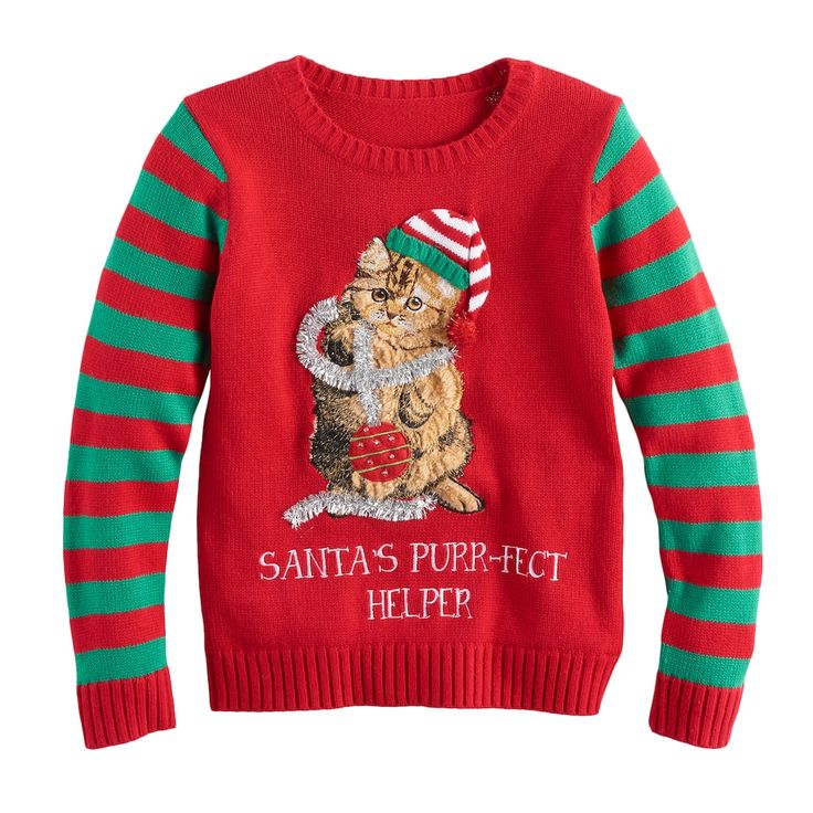Girls 7-16 & Plus Size It's Our Time Embroidered Sequin Light-Up Ugly Christmas Sweater, Size: L Plus, Red Overfl