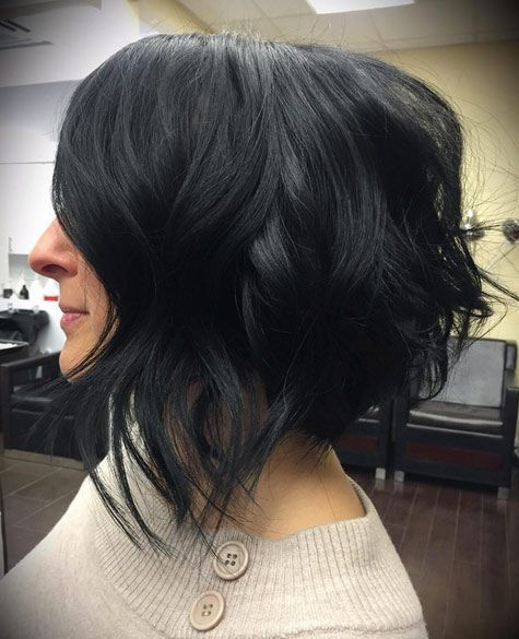 Black inverted wavy bob by Coryn Neylon