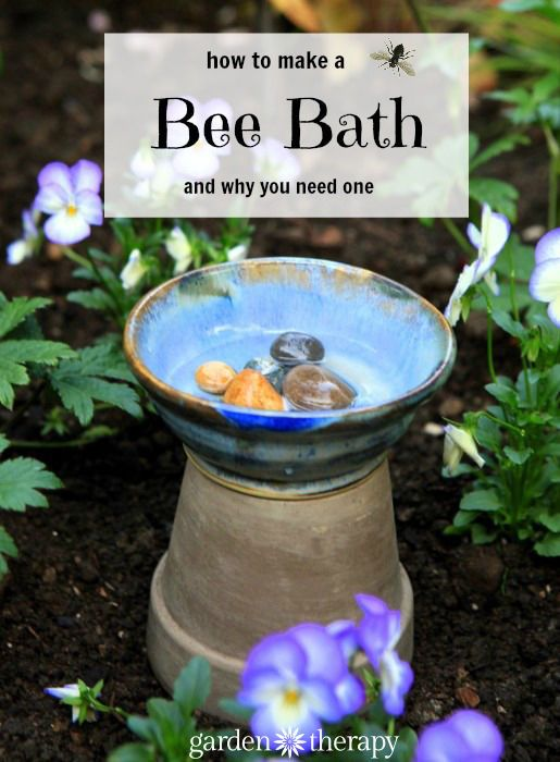 Creating a bee-friendly garden means more than just planting flowers. You certainly want to attract them with gorgeous blooms, but while they are in your garden you will want to give them a place to drink: a bee bath. #bee #garden