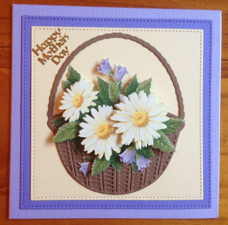 Handmade Mother's Day card using 3D flower sheet, basket die cut, square die cuts and peel off sticker.