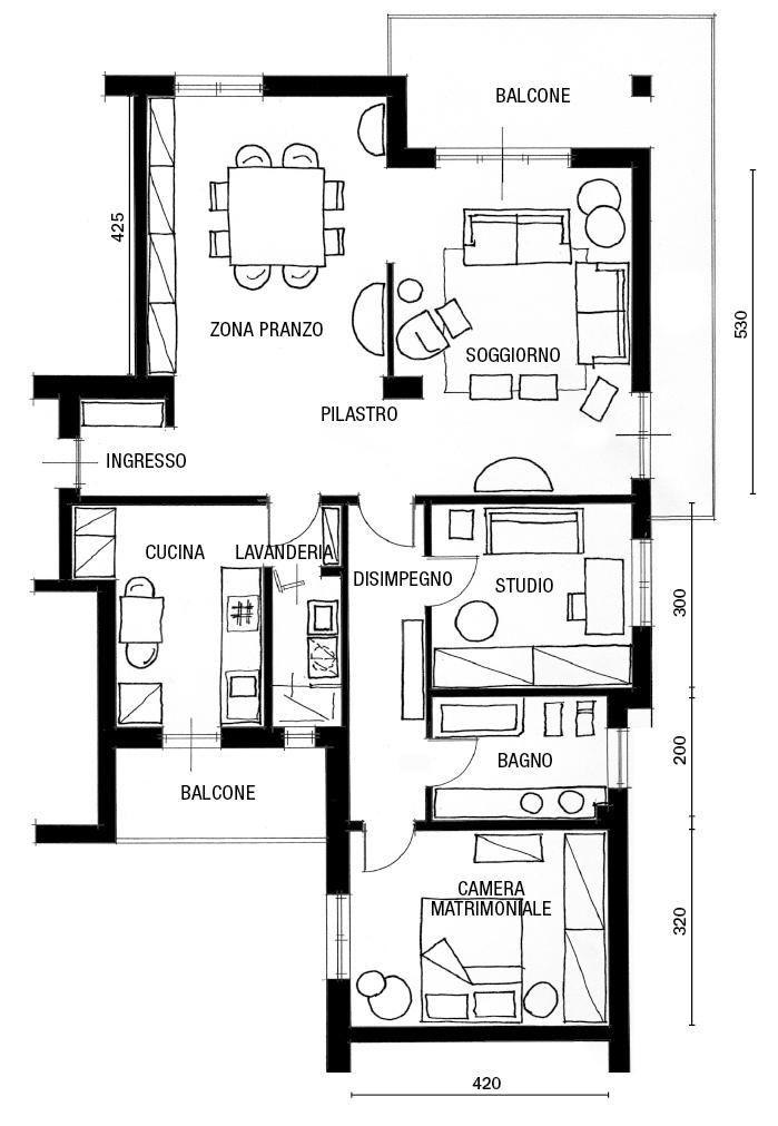 89 Mq Arredati Con Pezzi Iconici Del Design Planimetrie Di Case Planimetrie Piccole Progetto Di Appartamento