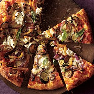 Cooking Light - Roasted Vegetable and Ricotta Pizza.  Delicious and easy! Made it tonite and it was sooo good. Added a little spicy chicken sausage to it. cg