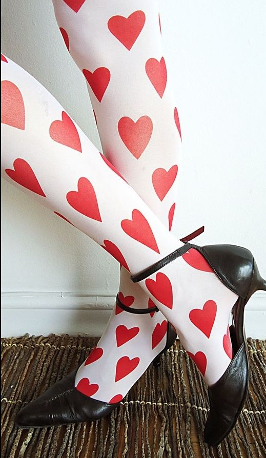 ♡ Your Heart is Mine, Valentine ♡  heart tights - LOL, these remind me of Alice in Wonderland!
